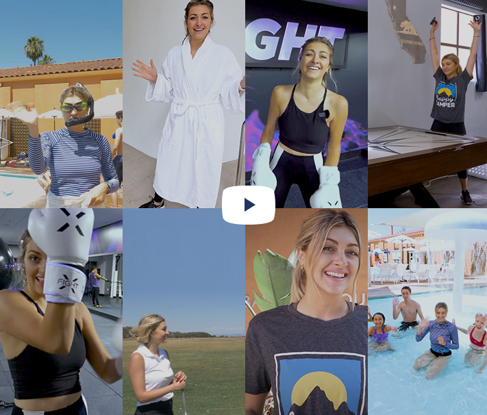 Thumbnail grid of images with video play button